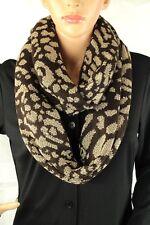 Calvin Klein Donna Maglia Infinity Sciarpa Marrone e Oro Lurex Leopardato 52bfb13a1388