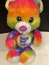 "FIESTA SUMMER 18"" RAINBOW TEDDY BEAR PLUSH GREAT WOLF LODGE"