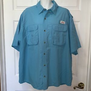 World Wide Sportsman Shirt Sz 2XL Mens Fishing Turquoise Short Sleeve Vented