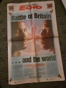 FRANK BRUNO VS LENNOX LEWIS LARGE NEWSPAPER. BATTLE OF BRITAIN & THE WORLD