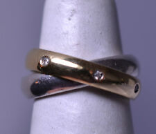 DOUBLE ETERNITY BAND - ONE RING IS 14K YELLOW GOLD & DIAMONDS - ONE IS STERLING