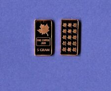 Maple Leaf .999 Copper  Bar Five Grams