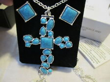 AVON BLUE ATLANTIC- CROSS NECKLACE & EARRINGS SET-Silvertone & Faux Turquoise