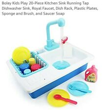 Boley Kids Play 20-Piece Kitchen Sink Running Tap Dishwasher Sink, Royal Faucet,