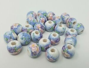 Lot of 25 Pastel White Floral Flower 16mm Round Ceramic Craft Jewelry Beads VTG