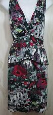 Julienne Weston Anthropologie Size L 12 14 Tiered Dress Ruffled Pink Teal