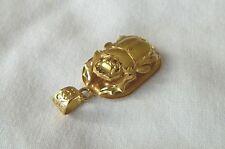 "Egyptian Scarab 18K Yellow Gold Pendant Diamond Cut Hieroglyphic 1.25"" #44 Order"