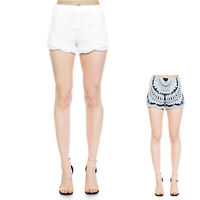 Womens Summer Beach Casual Stretch Lace Short Petite Fit S ~ XL
