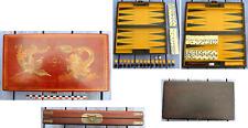 Boîte de jeu chinoise bois et cuir, backgammon et jeu dominos neufs, Chine...