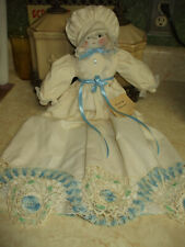 Vintage/Antique Pillowcase Doll/Embroidered Blue Thread & Ribbon Gift