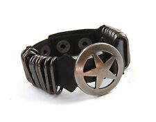 Urban Vintage Genuine Black Leather Band Bracelet Antiqued Metal Texas Star