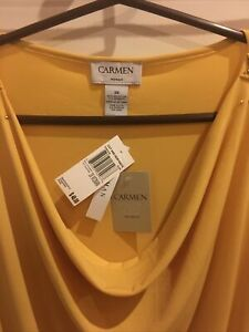 NWT CARMEN MARC VALVO Drape Neck ZIPPER SIZE 3x  $48 Retail Dijon Yellow