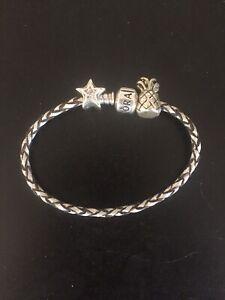 Genuine Pandora bracelet silver leather & genuine Pandora star /pineapple charms