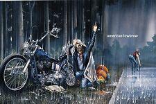 Dave David Mann Biker Art Motorcycle Poster Print Heavy Rain Breakdown Harley