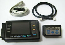 RC BVM-8S 1-8 Cell Battery Voltage Meter LiPo LiFe NiCd NiMH W/ Alarm Color LCD