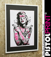 Pistole Aufdruck Graffiti Marilyn Monroe Display Bedruckt Limited Gerahmt /