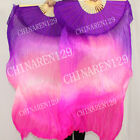 PAIRS 1.5M HAND MADE BELLY DANCE SILK FAN VEILS purple to pink to fuchsia 5656