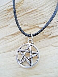 Pentagram Silver Effect Charm Pendant & Black Waxed Cord Necklace 44cms NEW