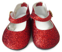 "Christmas Doll Clothes fits 18"" American Girl  Sparkle Red Glitter Shoes"