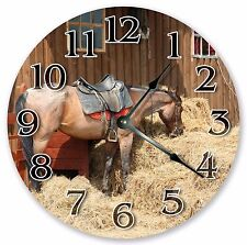 "10.5"" THE HORSE IN A BARN CLOCK - Large 10.5"" Wall Clock - Home Décor - 3171"