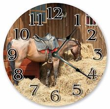 """10.5"""" THE HORSE IN A BARN CLOCK - Large 10.5"""" Wall Clock - Home Décor - 3171"""