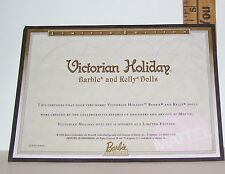 MATTEL VICTORIAN HOLIDAY KELLY BARBIE DOLL CERTIFICATE OF AUTHENTICITY COA ONLY