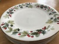 "Silver edge holly christmas set of 4 plates Gibson 7.75"" Salad appetizer plate"