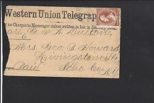 NEW YORK,NEW YORK 1884 #210 WESTERN UNION TELEGRAPH COVER, WITH TELEGRAM ENCL.