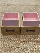 Pink Square Dog Bowls With Wooden Stand