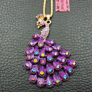 Betsey Johnson Purple Rhinestone Fashion Peacock Charm Pendant Necklace Chain