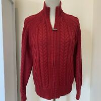Eddie Bauer Women's Red Cable Knit Full Zip Cardigan Sweater Size Medium