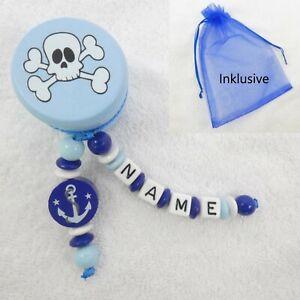 Milchzahndose mit Namen, blau, weiß, Holzdose, Pirat, Anker, Junge, Zähne