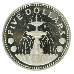 Barbados - Silver 5 Dollars Coin - 'Shell Fountain' - 1979 - Proof