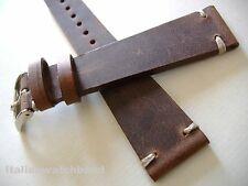 CINTURINO VINTAGE IN CUOIO GREZZO CUCITURE ECRU ANSA 18MM BAND STRAP bracelet