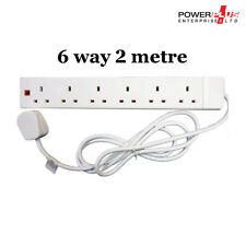6 Way 2 Metre Cable 13Amp Extension Lead- Complies With BS1363/A