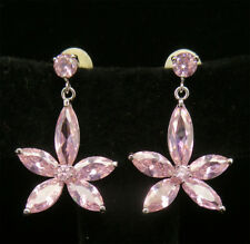 Cubic Zirconia Pink Fashion Dangle Earring Set Auction Jewelry