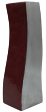 27cm Tall Waved Marble Burgundy Red & Silver Ceramic Table Flower Vase