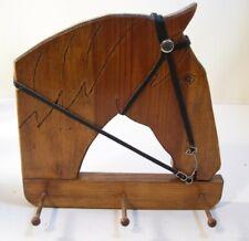 New listing Handmade Folk Art Wooden Horse Head Coat/Hat Rack Wall Plaque w/3 Pegs