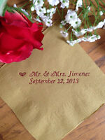 50 Personalized Napkins Wedding & All Occasions Cocktail Beverage Coral Kraft +