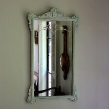 Antique Etched Mirror with Distressed White Wood Frame