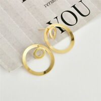 Women Simple Circle Round Ear Studs Earring Minimalist Gold Earrings Jewelry