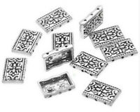 40Pcs Silver Gold Flower Hollow 3 Holes Metal Spacer Beads Jewelry DIY Finding