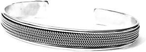 Solid 925 Sterling Silver Bangle Open Cuff Bracelet for Men