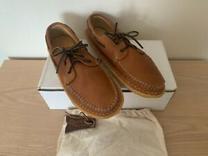 QUODDY MOCCASIN BOAT SHOE rare grizzly peanut brown UK10 new with original box