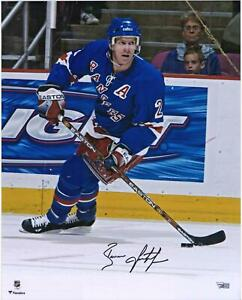 """Brian Leetch New York Rangers Signed 16"""" x 20"""" Blue Jersey Skating Photo"""