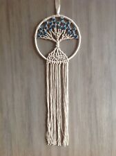 Tree Of Life Dream Catcher 25cm Web White/Cream Rope Blue Wood Beads 75cm Length