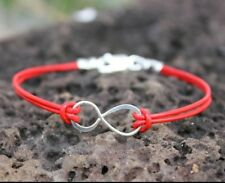 Infinite Love - Infinity Anklet or Bracelet - red leather & sterling silver