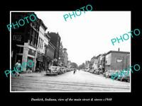 OLD HISTORIC PHOTO OF DUNKIRK INDIANA, VIEW OF THE MAIN STREET & STORES c1940