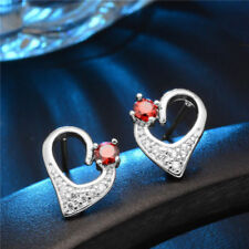 Cute New Silver Plated Round Ruby Red CZ & Crystal Heart Stud Earrings