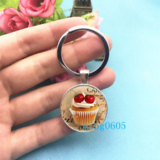Cupcake , Cake Photo Tibet Silver Keychains Rings Glass Cabochon Key chain -91